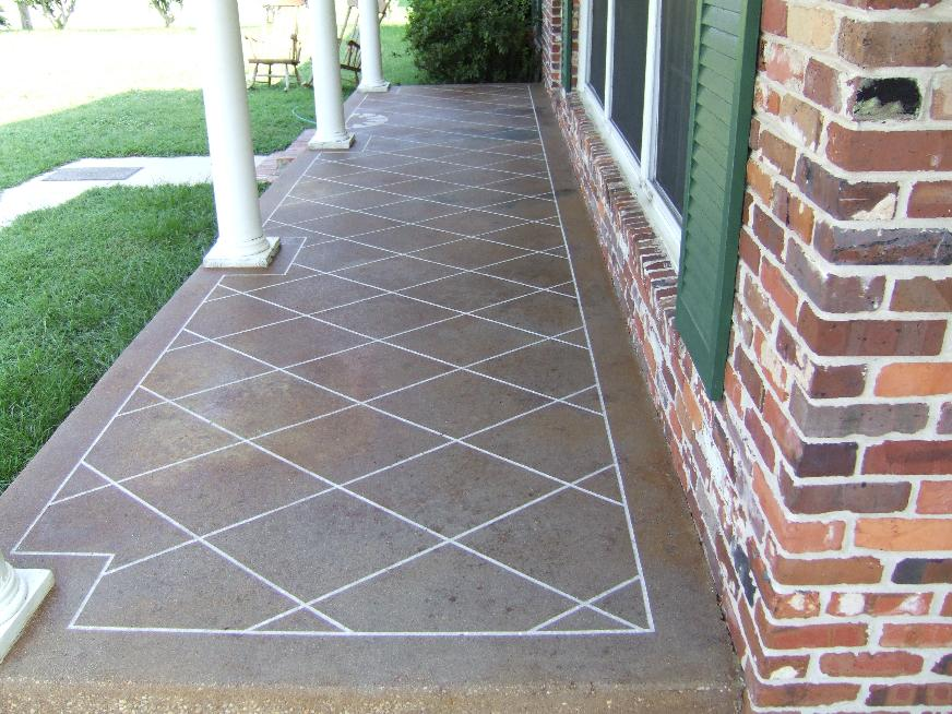 Etch And Stain A Diamond Pattern Concrete Patio Outdoors